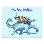 "Children Riding Dinosaur BIRTHDAY PARTY INVITATION 4.25"" X 5.5"" Invitation Card"