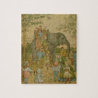 Children Riding on the Elephant (litho) Jigsaw Puzzle