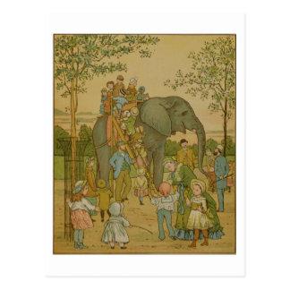 Children Riding on the Elephant (litho) Postcard