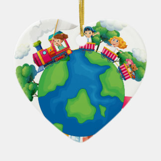 Children riding on train around the world ceramic ornament