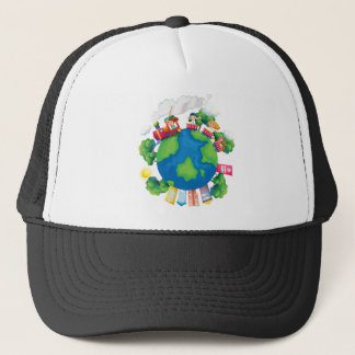 Children riding on train around the world trucker hat