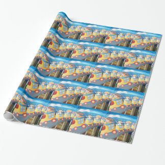 Children riding on train in the tunnel wrapping paper