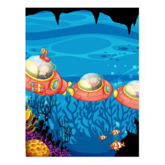 Children riding submarine underwater postcard