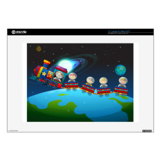 "Children riding train in space 15"" laptop decal"
