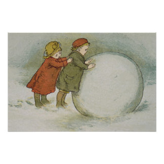 Children Rolling Snowballs Posters