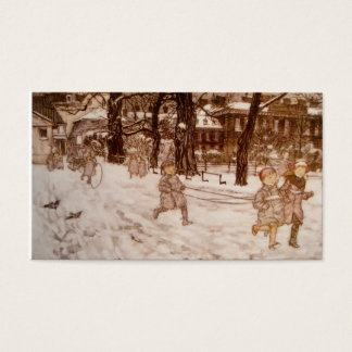 Children Running in the Snow Business Card