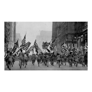 Children Running With American Flags in NYC (1917) Poster