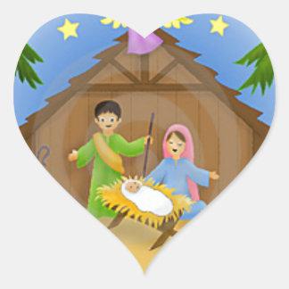 Children s Nativity mug key chain necklace phone Heart Stickers