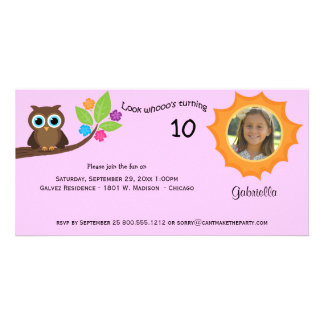 Children s Party Owl Photo Invite Pink Background Customized Photo Card