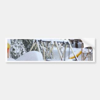 Children`s playground in winter bumper sticker