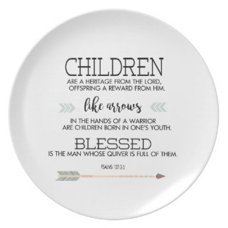 Children Scripture Verse with Arrows Dinner Plate