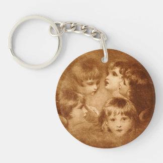 Children Sepia Faces Portrait Ethereal Vintage Keychain