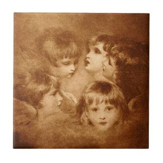Children Sepia Faces Portrait Ethereal Vintage Small Square Tile