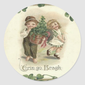Children Shamrock Erin Go Bragh Classic Round Sticker