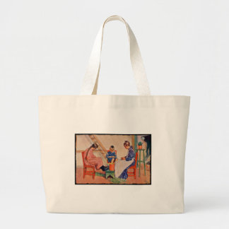 Children Shelling Peas Large Tote Bag