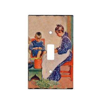 Children Shelling Peas Light Switch Cover