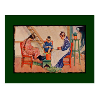 Children Shelling Peas Postcard