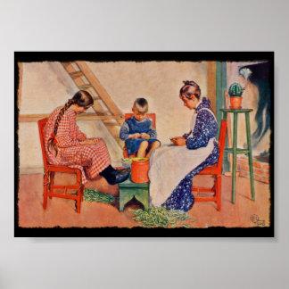 Children Shelling Peas Poster