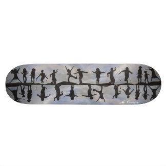 Children Silhouette Skateboard