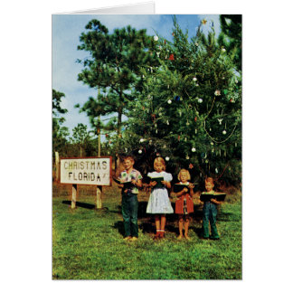 Children Singing Around a Florida Christmas Tree Card