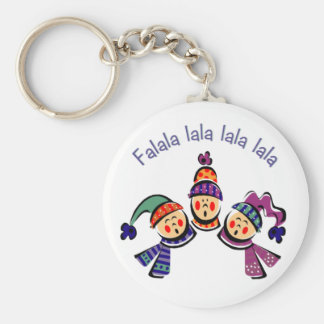 Children singing falala basic round button keychain