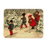 Children skiing, a vintage winter scene magnets