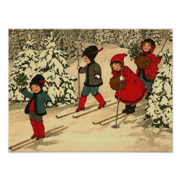 Children skiing, a vintage winter scene poster