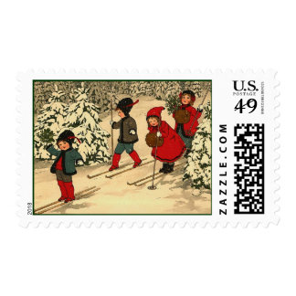Children skiing vintage winter scene postage