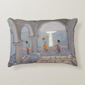 Children Skipping Greek Islands 2008 Accent Pillow