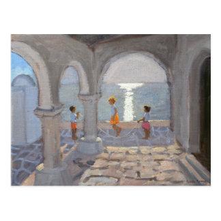 Children Skipping Greek Islands 2008 Postcard
