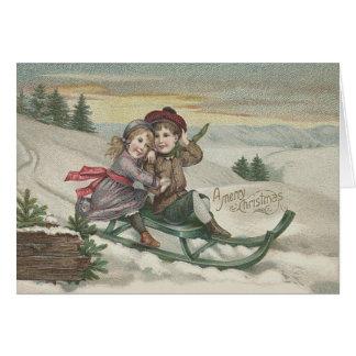 Children Sledding Christmas Tree Snow Winter Card