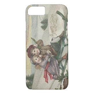 Children Sledding Christmas Tree Snow Winter iPhone 8/7 Case