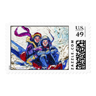 Children Sledding in the Snow Postage Stamp