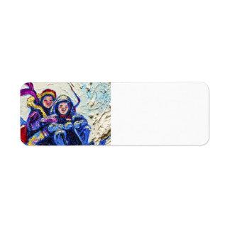 Children Sledding in the Snow Return address Label