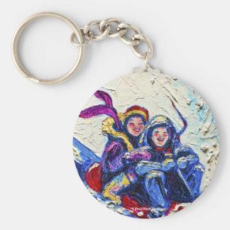 Children Sledding Painting Keychain
