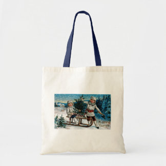 Children Sledding Tote Bag