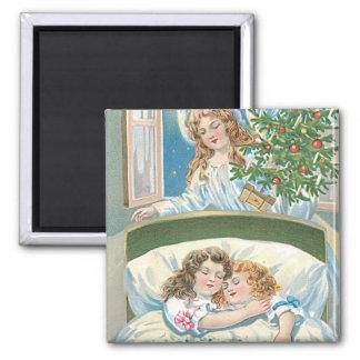 Children Sleeping Angel Christmas Tree Window 2 Inch Square Magnet
