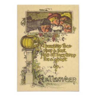 Children Smiling Glowing Jack O Lantern Pumpkin Card