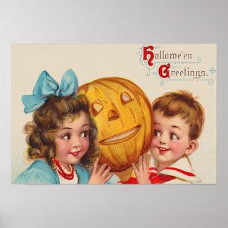 Children Smiling Jack O' Lantern Pumpkin Poster
