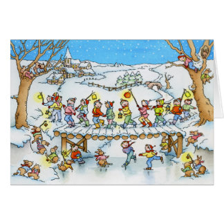 Children Snow Procession Christmas Greeting Card