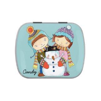 Children Snowman Candy Tin
