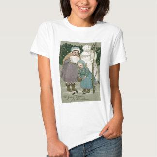 Children Snowman Feeding Birds Winter T Shirt