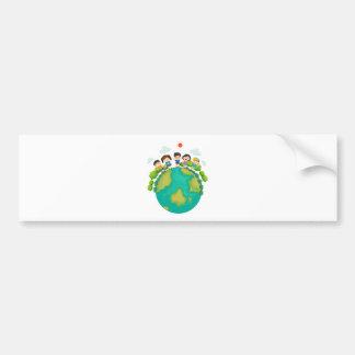 Children standing around the earth bumper sticker