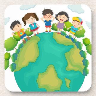 Children standing around the earth coaster