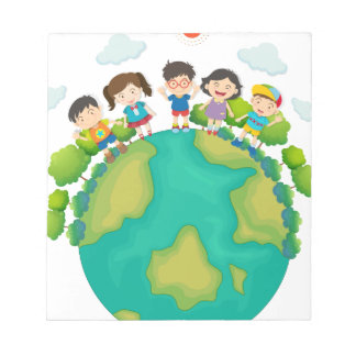 Children standing around the earth notepad