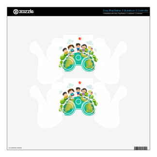 Children standing around the earth PS3 controller skins
