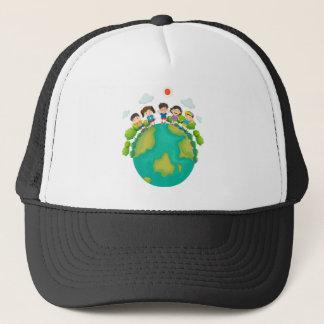 Children standing around the earth trucker hat