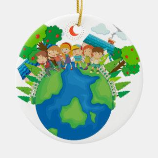 Children standing around the world ceramic ornament
