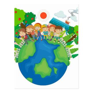 Children standing around the world postcard