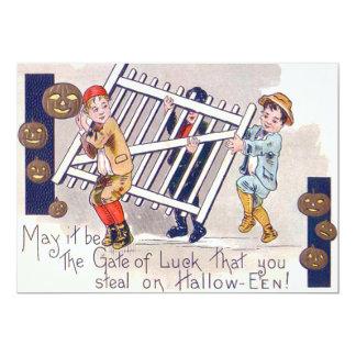Children Stealing Fence Jack O Lantern Card